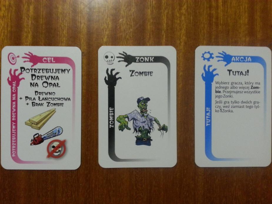Kolejno karty: Celu, Zonk oraz Akcji