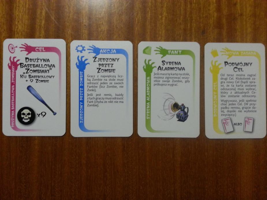 Kolejno karty: Celu, Akcji, Fantu oraz Nowa Zasada