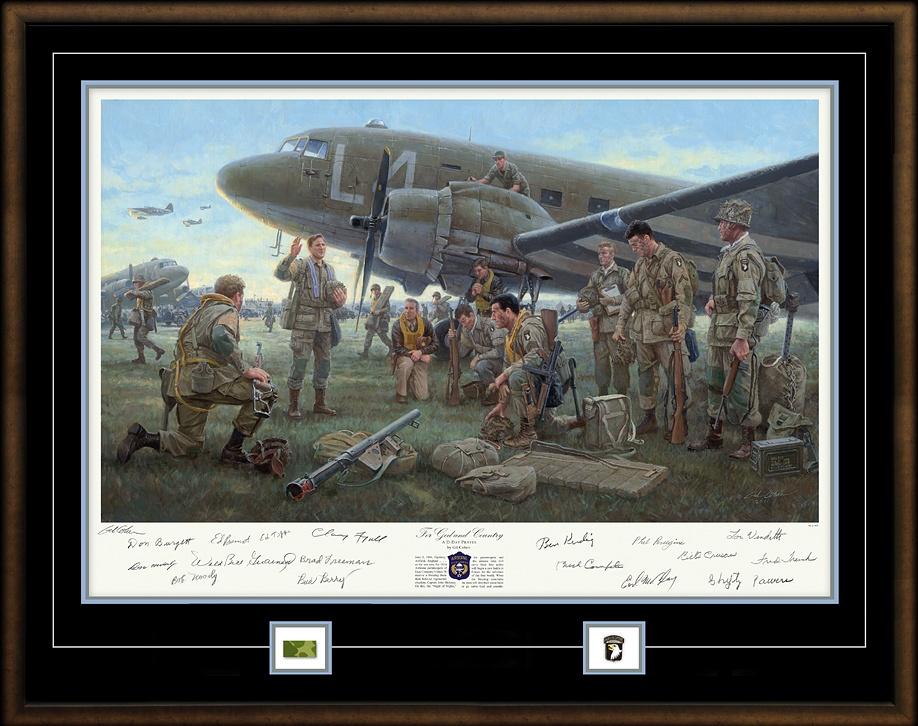 5 czerwca 1944 r., Lotnisko Upottery (Anglia). Gdy zachodzi słońce spadochroniarze ze 101. DPD otrzymują błogosławieństwo od kapelana Johna Maloney'a (www.valorstudios.com)