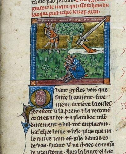 Ranny Król Artur i Pani z Jeziora, która łapie rzucony przez Sir Bedivera miecz