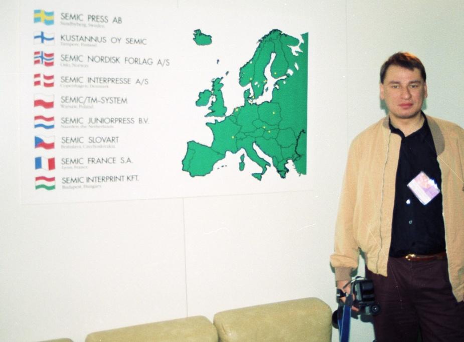 Waldemar Tevnell podczas targów we Frankfurcie. Zdjęcie z archiwum Stanisława Dudzika