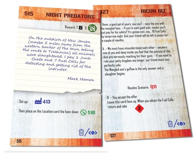 Przykładowe karty fabularne z angielskiej wersji prototypu.