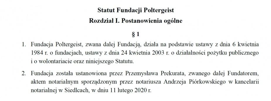 Fragment statutu Fundacji Poltergeist