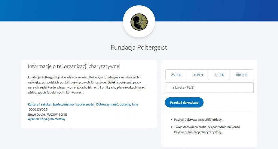 Jednorazowa darowizna PayPal
