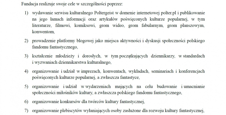Fragment Statutu Fundacji